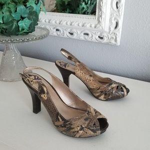 Fergalicious Brown Snakeskin Slingback heels